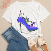 High Heels & Lipstick Print Tee