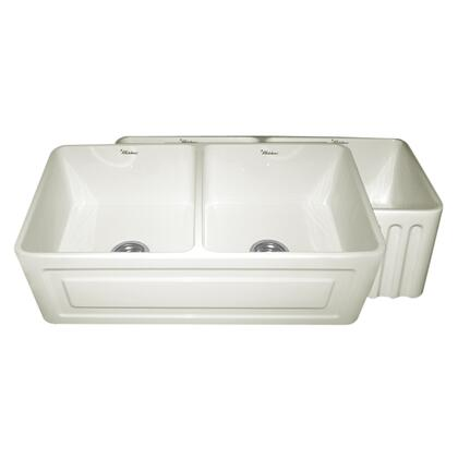WHFLRPL3318-BISCUIT Reversible series fireclay sink with Raised Panel front apron on one side and fluted front apron on