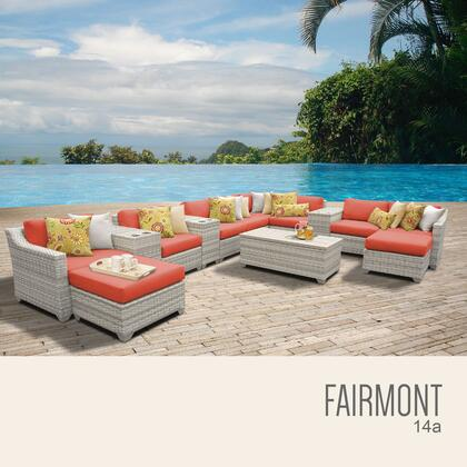 FAIRMONT-14a-TANGERINE Fairmont 14 Piece Outdoor Wicker Patio Furniture Set 14a with 2 Covers: Beige and