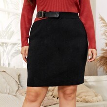 Plus Solid Buckle Detail Knit Skirt