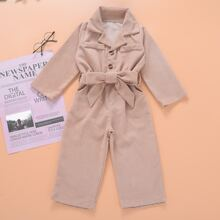Toddler Girls Button Front Belted Corduroy Jumpsuit