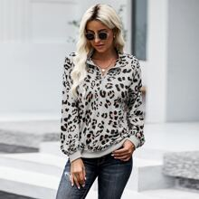 Leopard Drop Shoulder Half Placket Sweatshirt