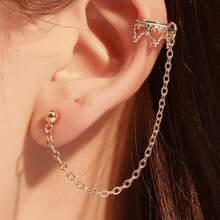 1pc Heart Chain Ear Cuff