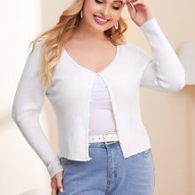 Plus Pearls Button Solid Cardigan