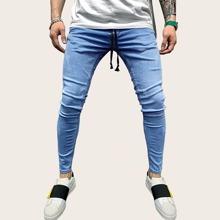 Blau  Mit Guertel  Einfarbig Laessig Maenner Jeans