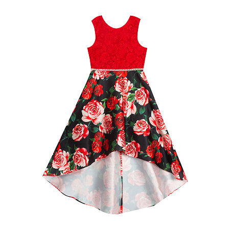 Rare Editions Little & Big Girls Sleeveless High-Low Party Dress, 14 , Red