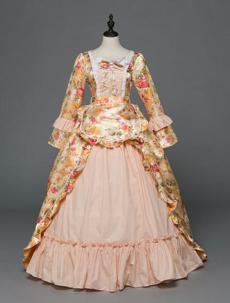 Milanoo Victorian Dress Costume Women's Rococo beige Victorian Masquerade Ball Gowns Royal Long Sleeves Retro Costume