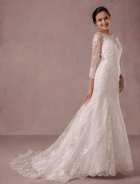 Milanoo Sirena Vestido de boda largo mangas encaje ilusion posterior apliques rebordear vestido vestido de novia