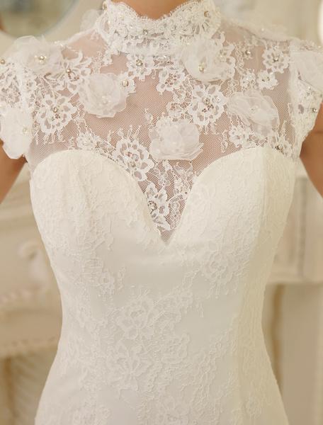 Milanoo Ivory Mermaid High Collar Flower Chapel Train Wedding Dress For Bride