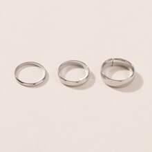 3 piezas anillo metalico simple