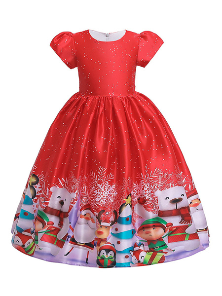 Milanoo Child Christmas Cosplay Costumes Santa Claus Red Dress Pleated Kids Outfit Halloween