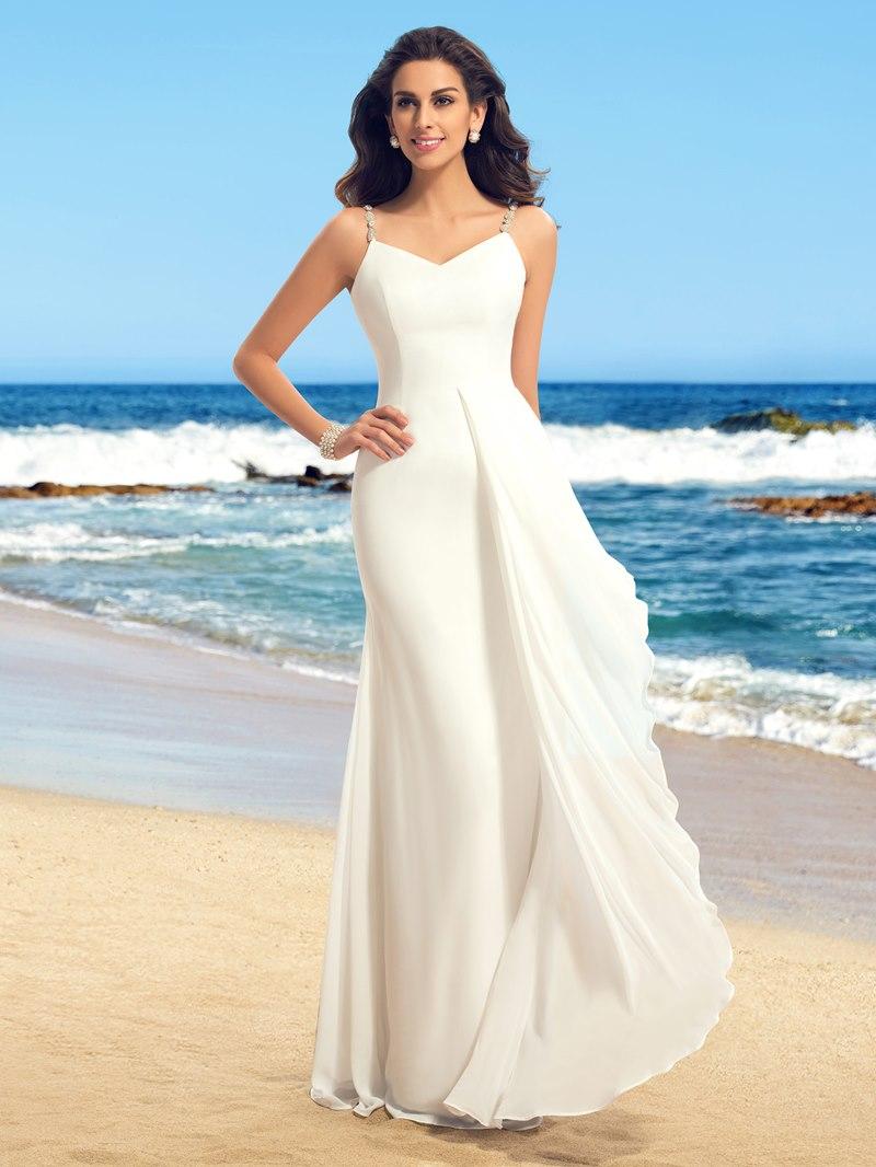 Simple Straps V-Neck Ruffles Wedding Dress