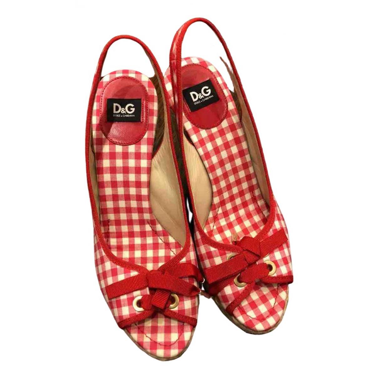 D&g - Sandales   pour femme en toile - rouge