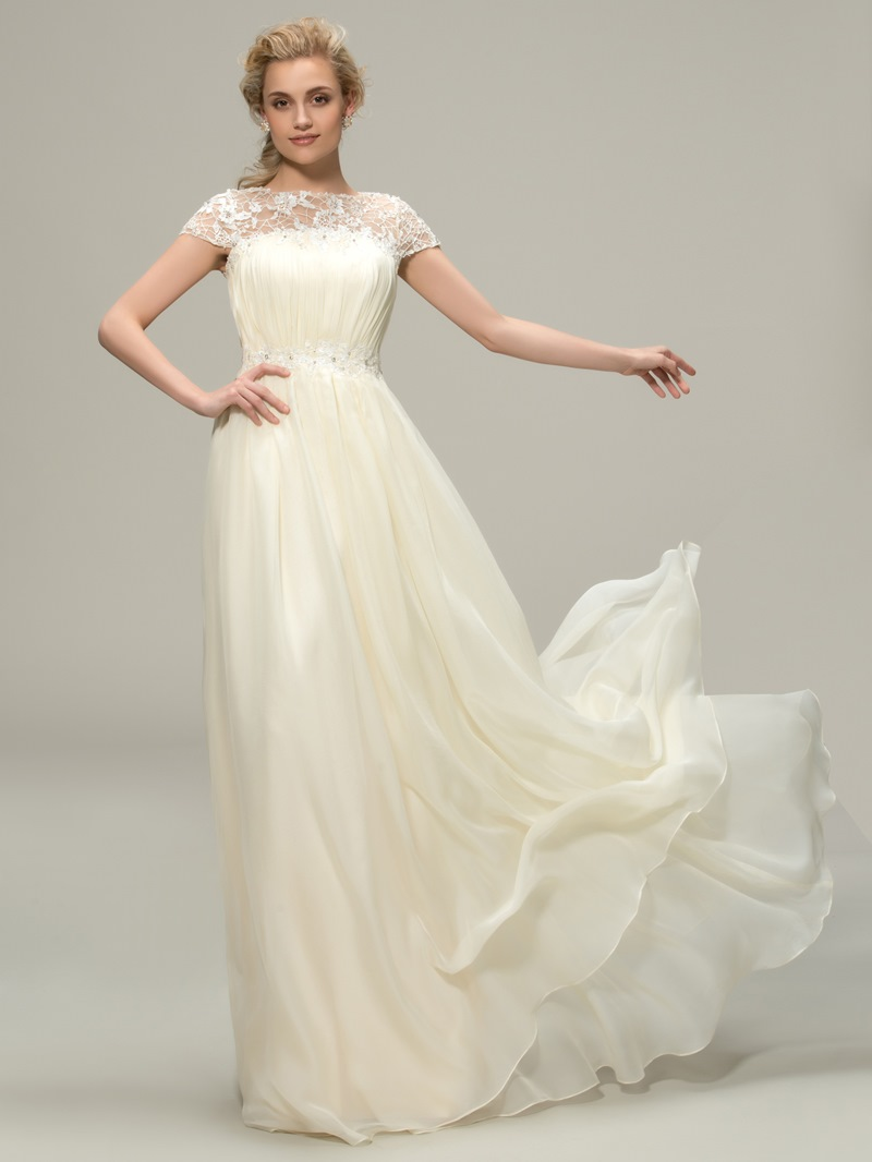 Ericdress Cap Sleeve Lace Beach Bridesmaid Dress