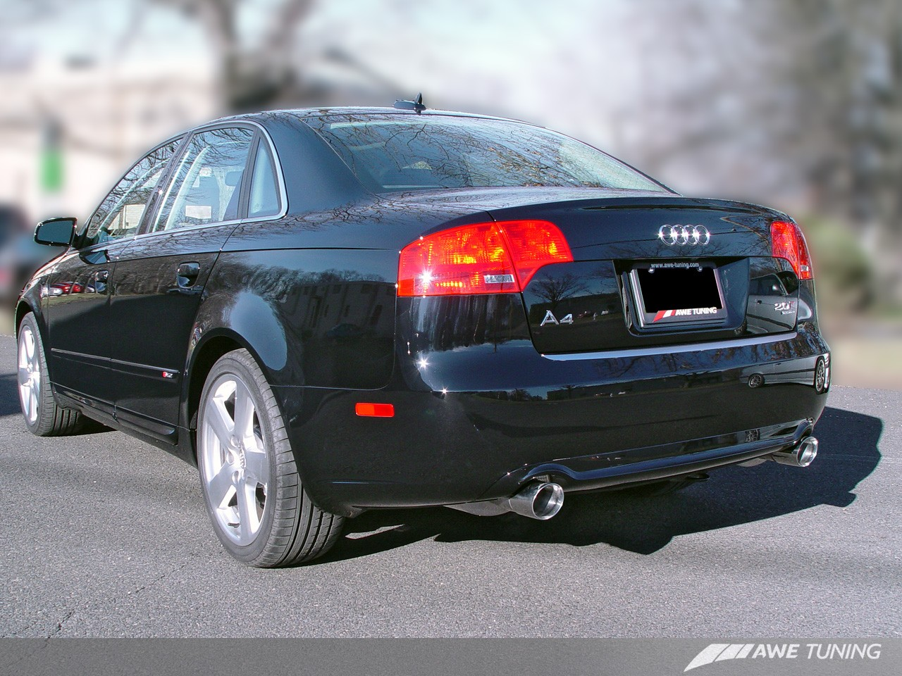 AWE Tuning 3020-33018 Track Edition Dual Tip Exhaust System Diamond Black Tips Audi B7 A4 3.2L 06-08