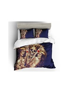 Skull King and Beauty Queen Printed Polyester 3-Piece 3D Bedding Sets/ Duvet Covers