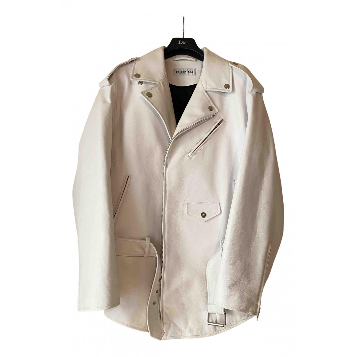 Balenciaga - Veste   pour femme en cuir - blanc