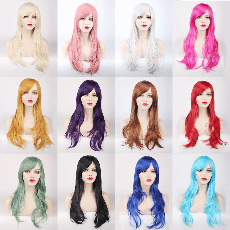 70CM Long Synthetic Costume Cosplay Wig High Temprature Fiber Hair Extensions For Women