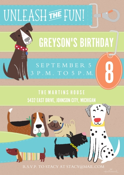 Kids Birthday Party Invites 5x7 Cards, Premium Cardstock 120lb, Card & Stationery -Unleash the Fun