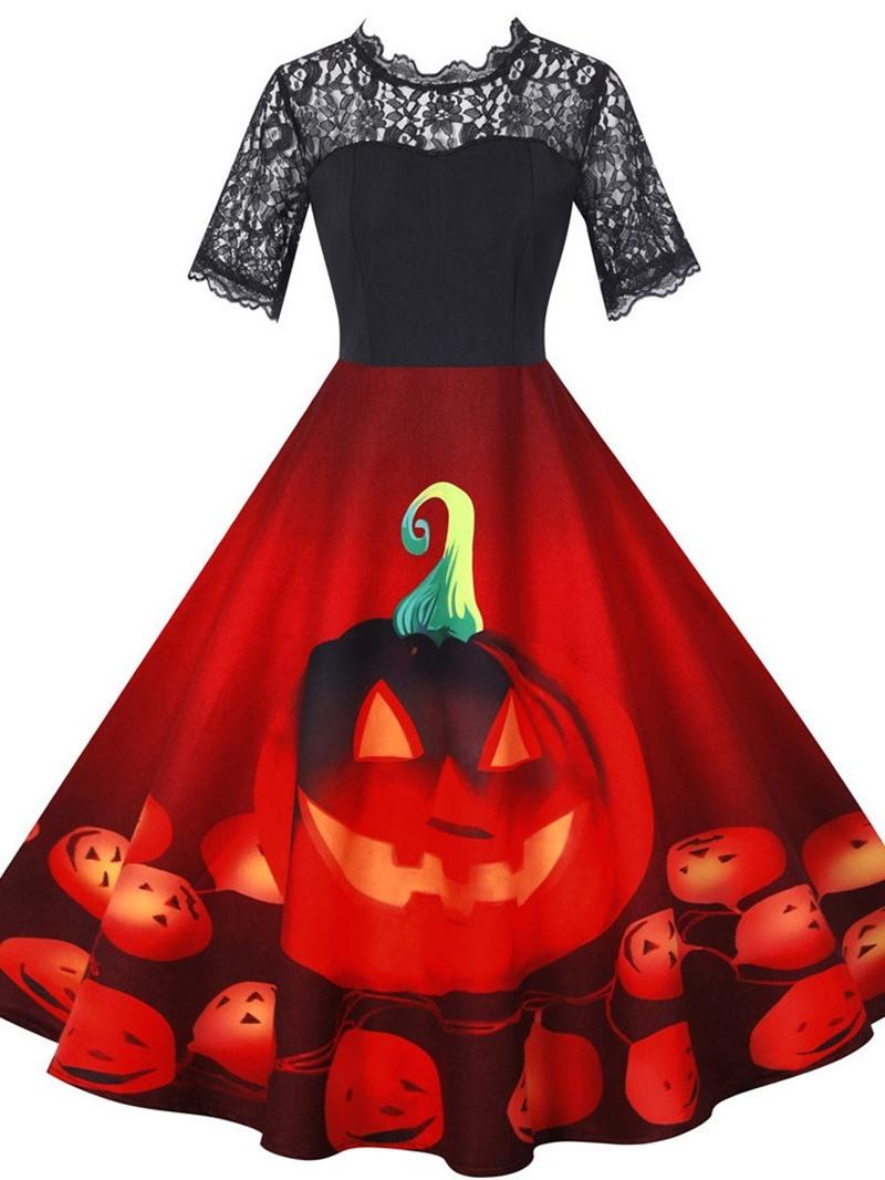 Ericdress Lace Mid-Calf Short Sleeve Regular Pullover Dress