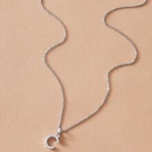 1pc Rhinestone Decor Letter Charm Necklace