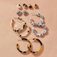 6pairs Tortoiseshell Hoop Earrings & Stud Earrings Set