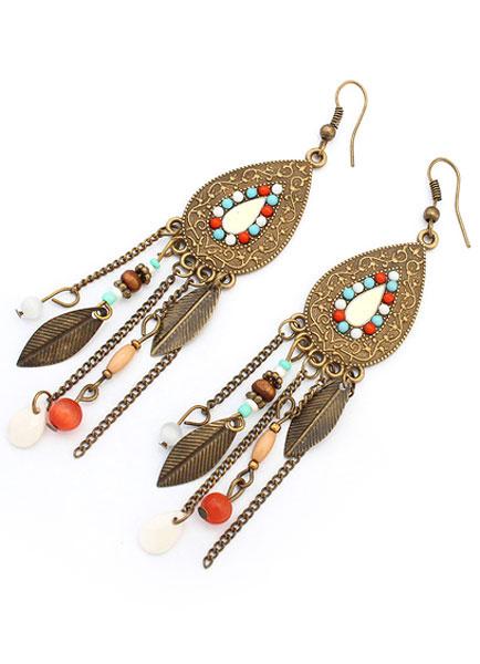 Milanoo Metallic Layered Dangle Earrings