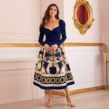 Sweetheart Neck Baroque Print Combo Skater Dress