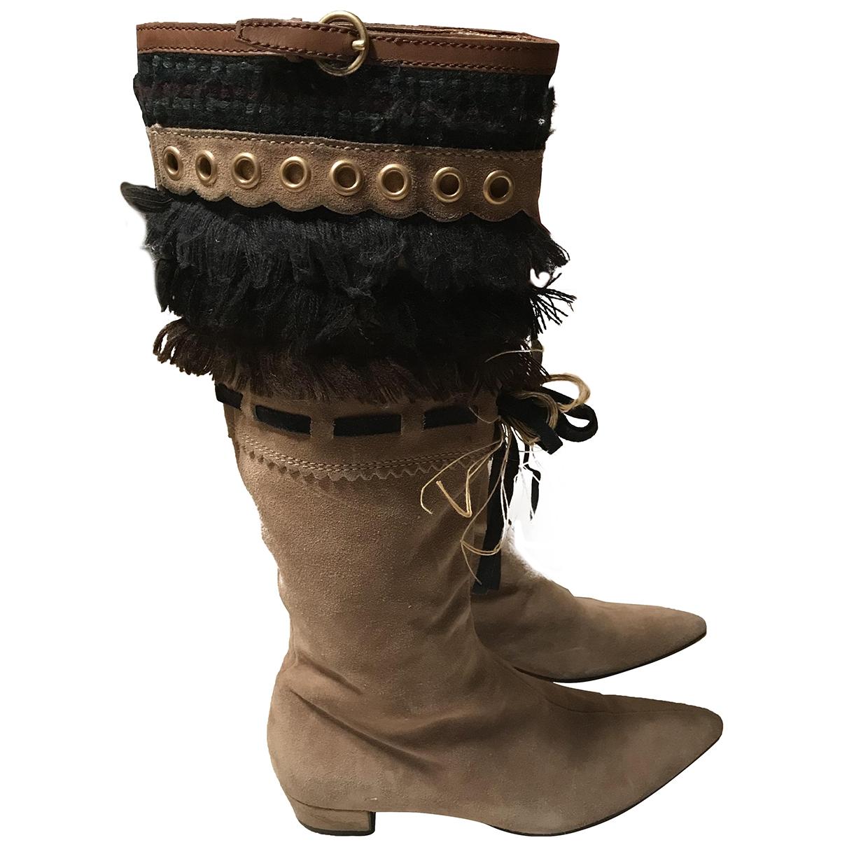 Miu Miu \N Beige Leather Boots for Women 35.5 EU