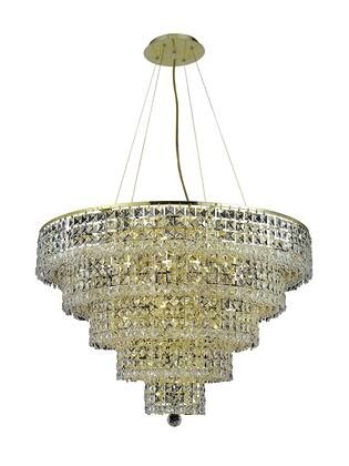 2037D30G/SS 2037 Maxim Collection Hanging Fixture D30in H22in Lt: 17 Gold Finish (Swarovski Strass/Elements