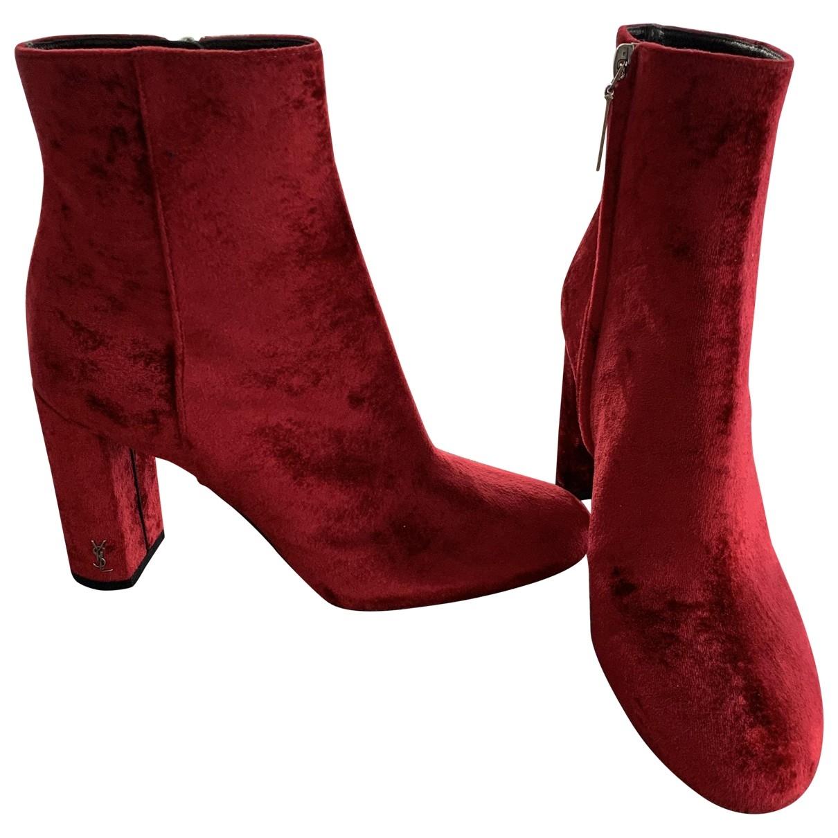 Saint Laurent - Boots   pour femme en velours - rouge