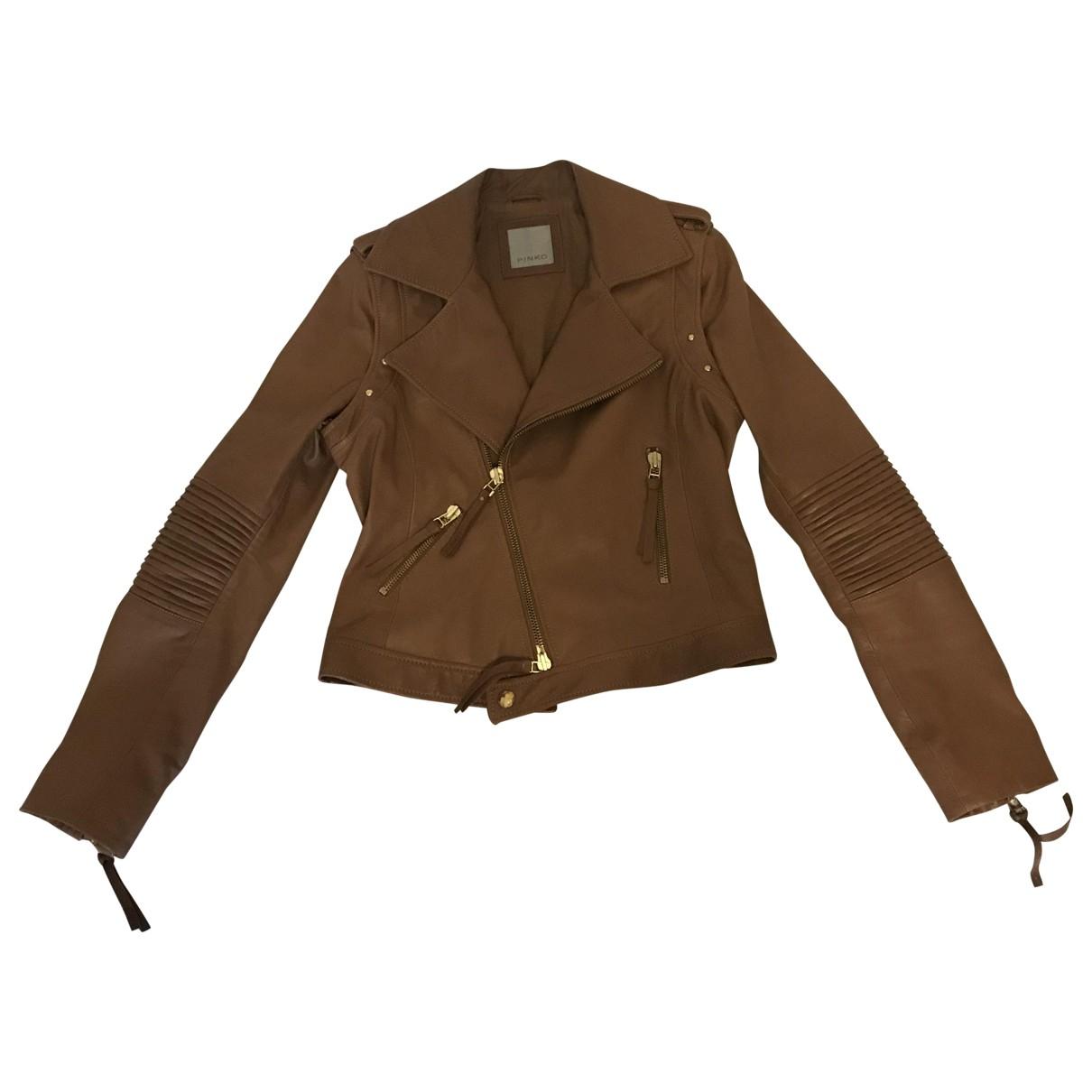 Pinko N Camel Leather jacket for Women 44 IT
