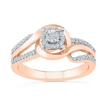 Promise My Love Womens 1/6 CT. T.W. Genuine White Diamond 10K Rose Gold Promise Ring, 7 , No Color Family