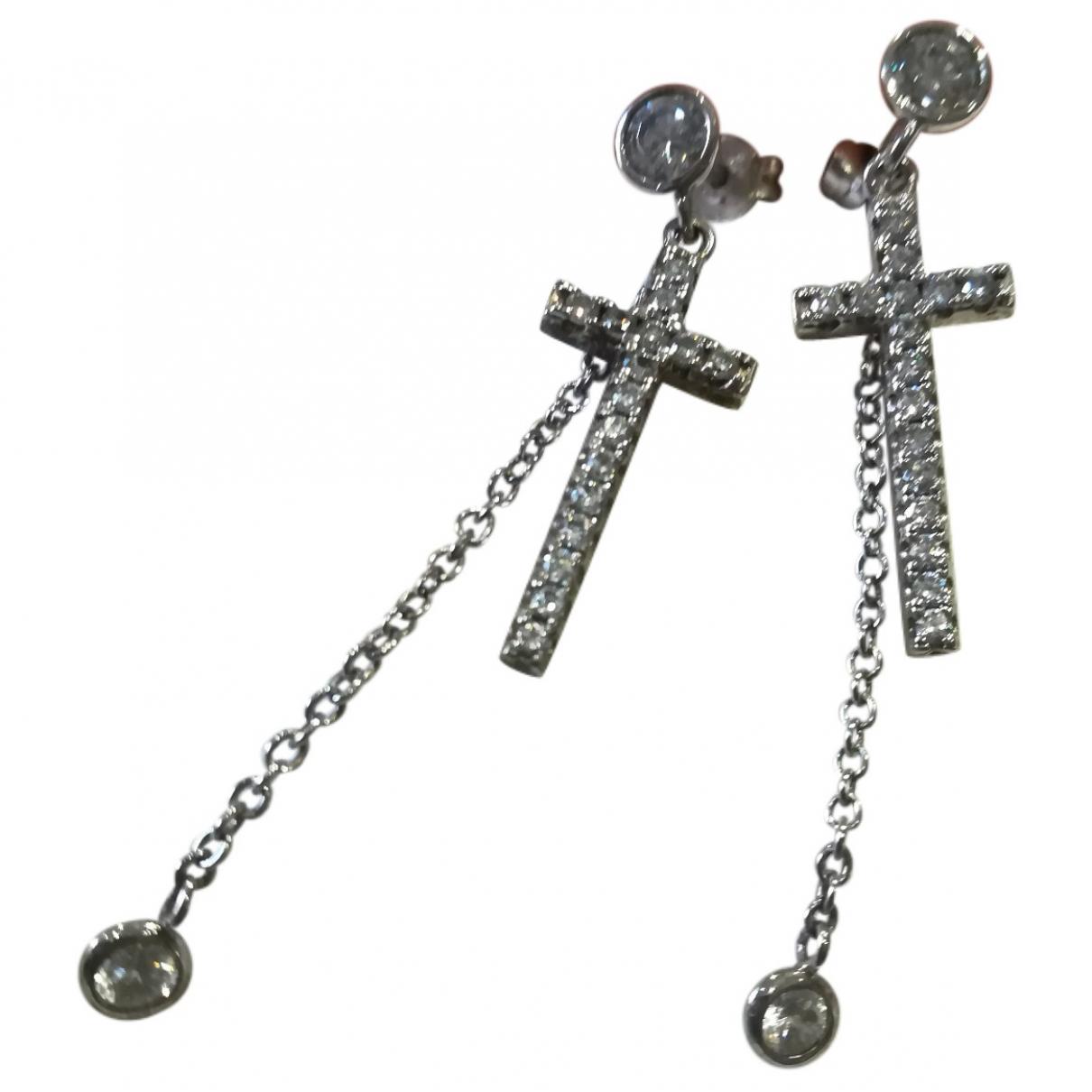 - Boucles doreilles Croix pour femme en argent