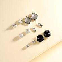 6pairs Retro Geometric Gem Stud Earrings