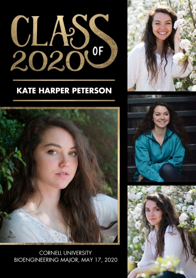 2020 Graduation Announcements 5x7 Cards, Premium Cardstock 120lb, Card & Stationery -Class of 2020 Gold by Tumbalina