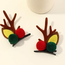 2pcs Christmas Deer Design Pom-pom Hair Clip