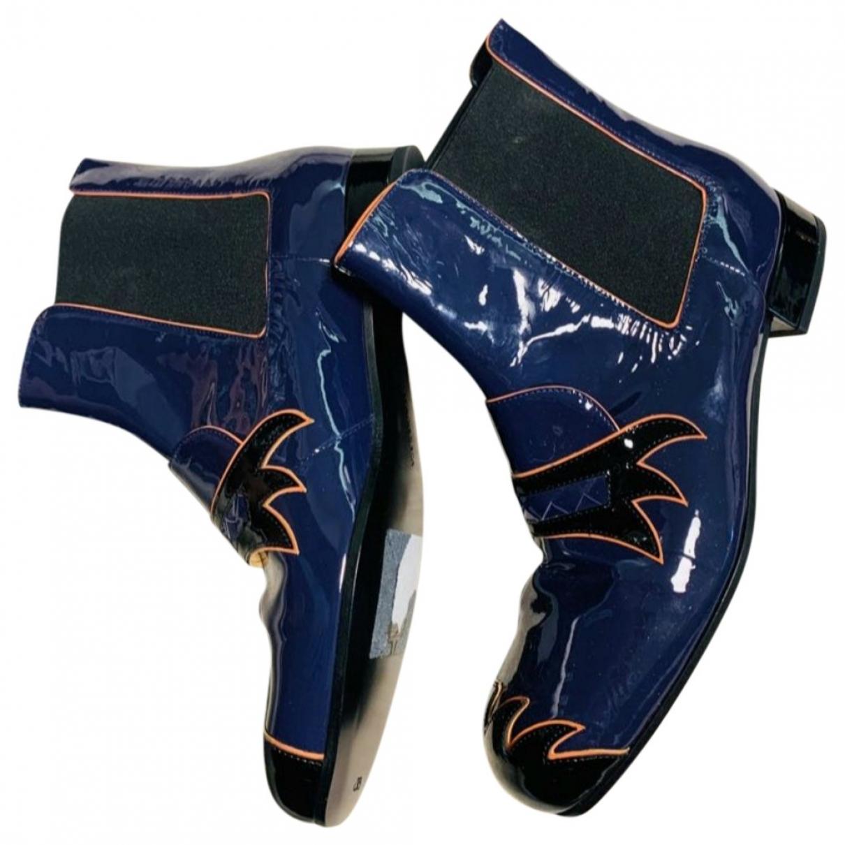 Bottega Veneta - Boots   pour femme en cuir verni - marine