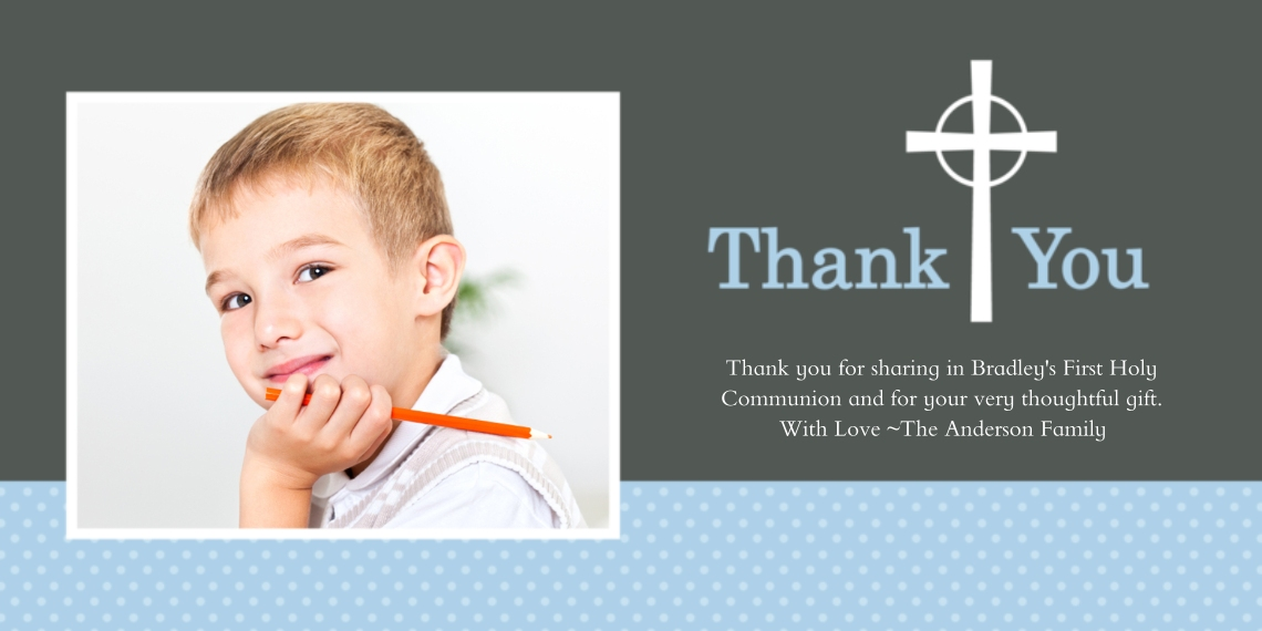 Communion Flat Glossy Photo Paper Cards with Envelopes, 4x8, Card & Stationery -Thank You Cross Dots Blue
