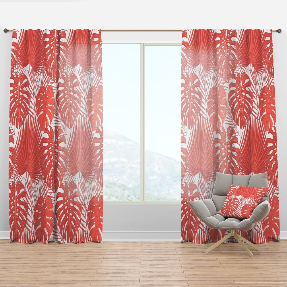 Designart 'Tropical Retro Foliage Coral I' Mid-Century Modern Curtain Panel (50 in. wide x 95 in. high - 1 Panel)