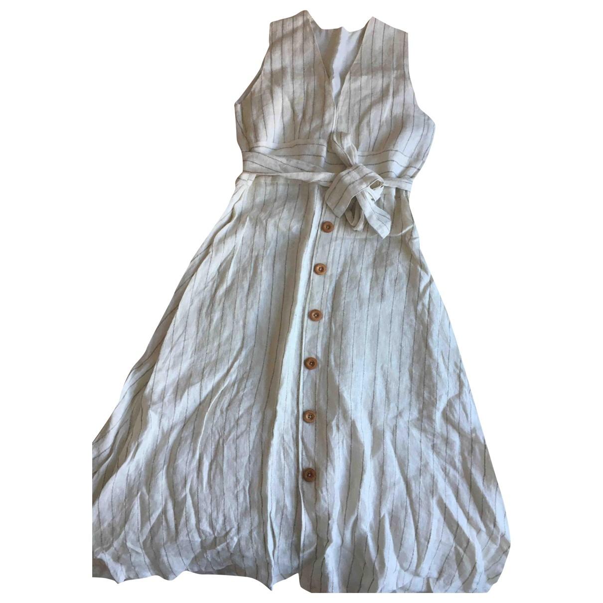 Non Signe / Unsigned \N Kleid in  Ecru Leinen