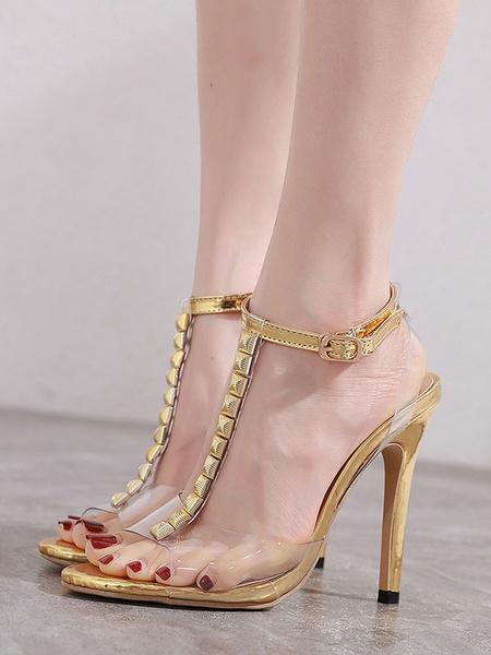 Milanoo High Heels Peep Toe Stiletto Heel Chic Blond Gold PU Sandals