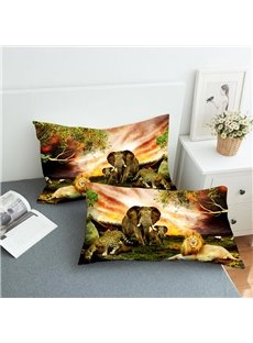 Elephants And Lions on The Grassland Reactive Printing 2-Piece Polyester Pillowcase