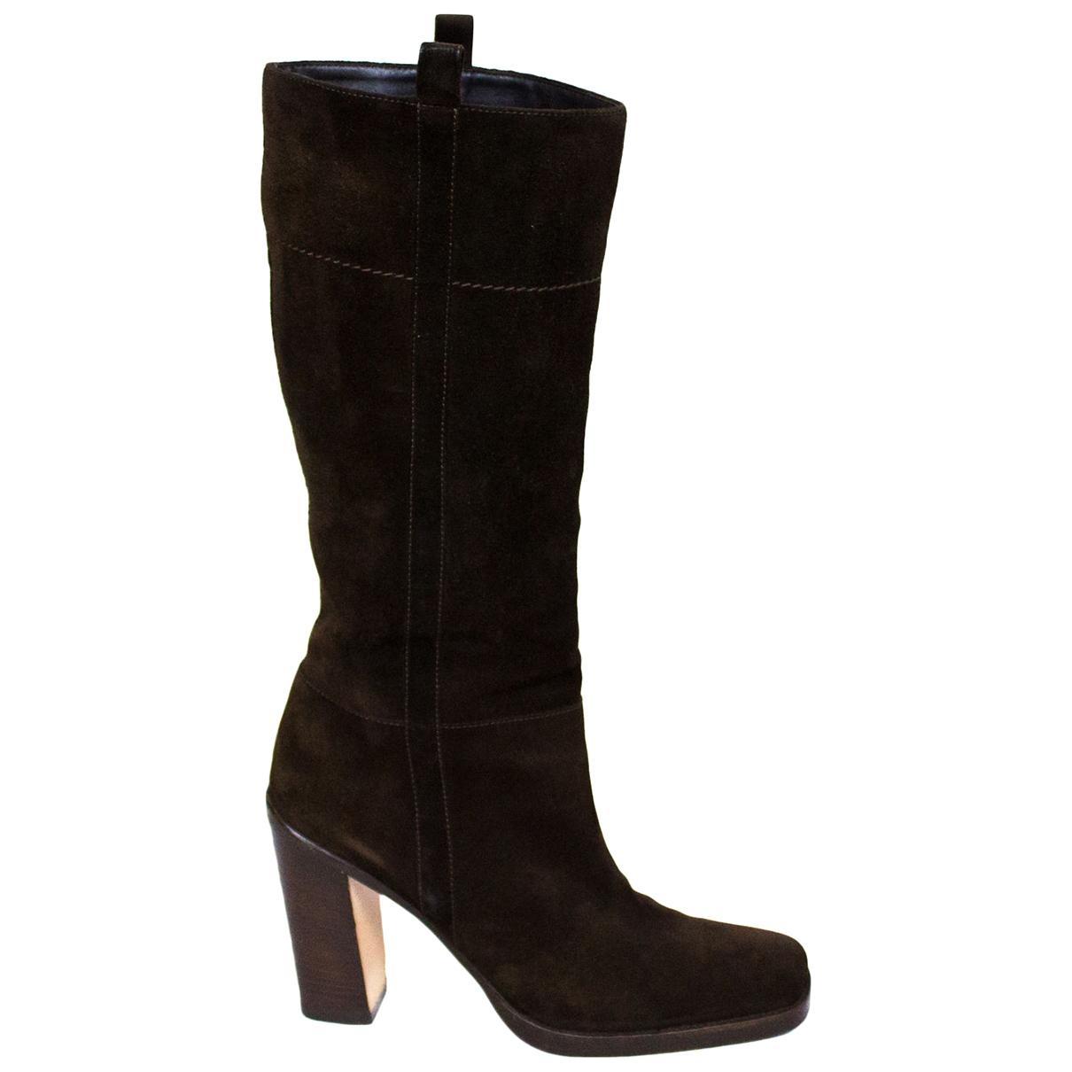 Prada \N Brown Suede Boots for Women 37.5 EU