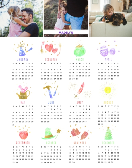 Calendar 11x14 Adhesive Poster, Home Décor -A Year Of Celebrations