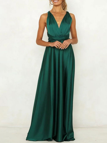 Milanoo Green Maxi Dress Sleeveless Cross Back Women Party Dress