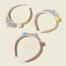 3 piezas aro de pelo de niñas con diamante de imitacion