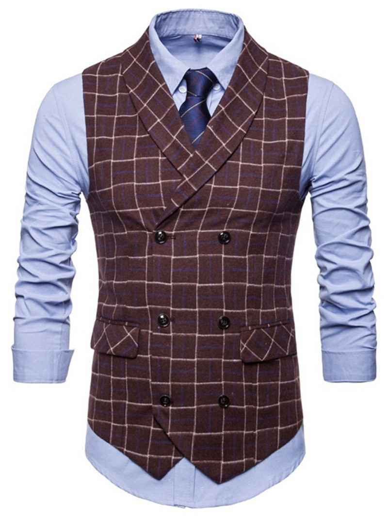 Ericdress Pocket Plaid Lapel Double-Breasted Casual Waistcoat