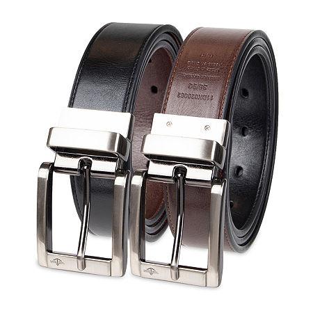 Dockers Reversible Casual Men's Belt with Metal Keeper, S (30-32) , Black