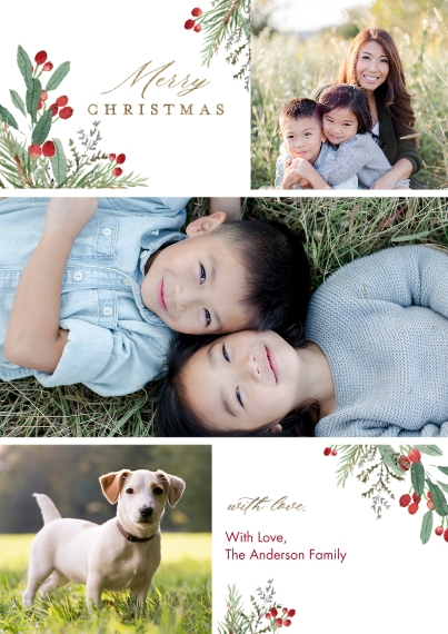 Christmas Photo Cards 5x7 Cards, Premium Cardstock 120lb with Scalloped Corners, Card & Stationery -Christmas Foliage Festive by Tumbalina